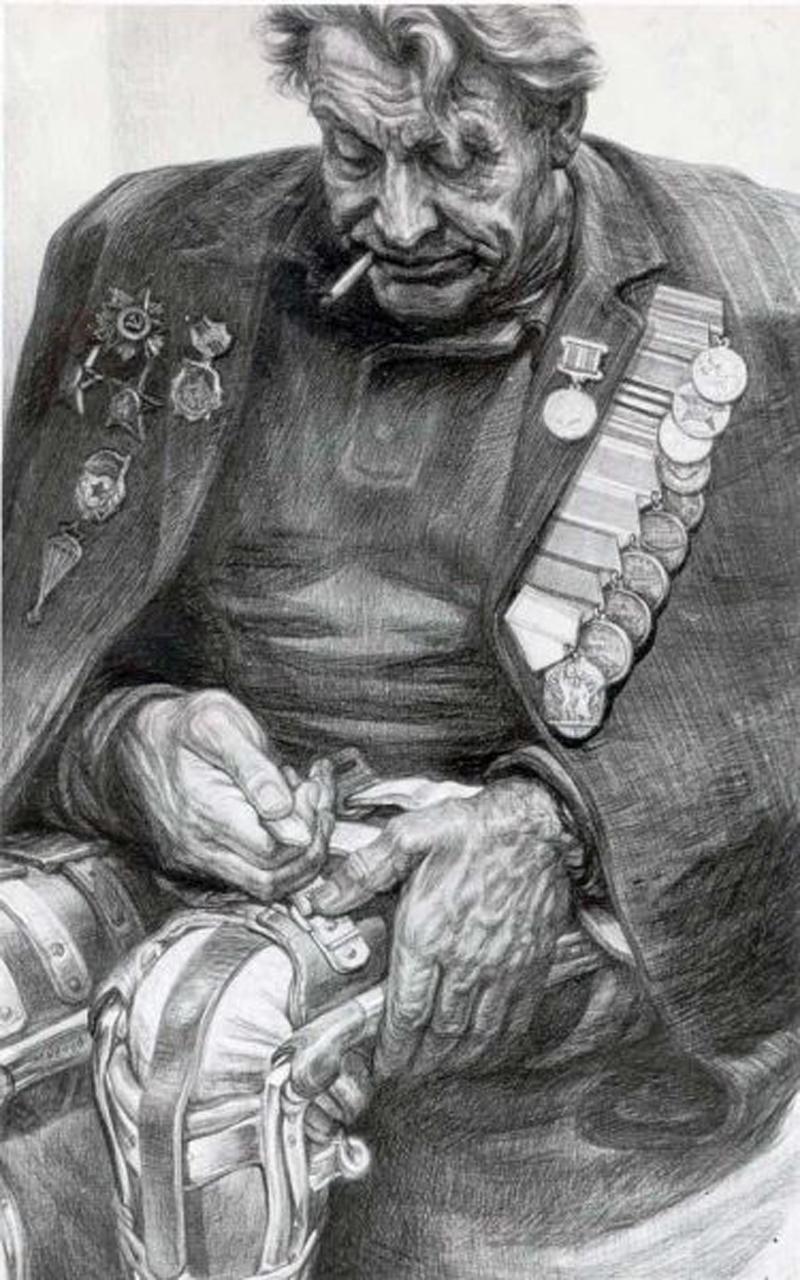 Фронтовик. Рисунок Геннадия Доброва