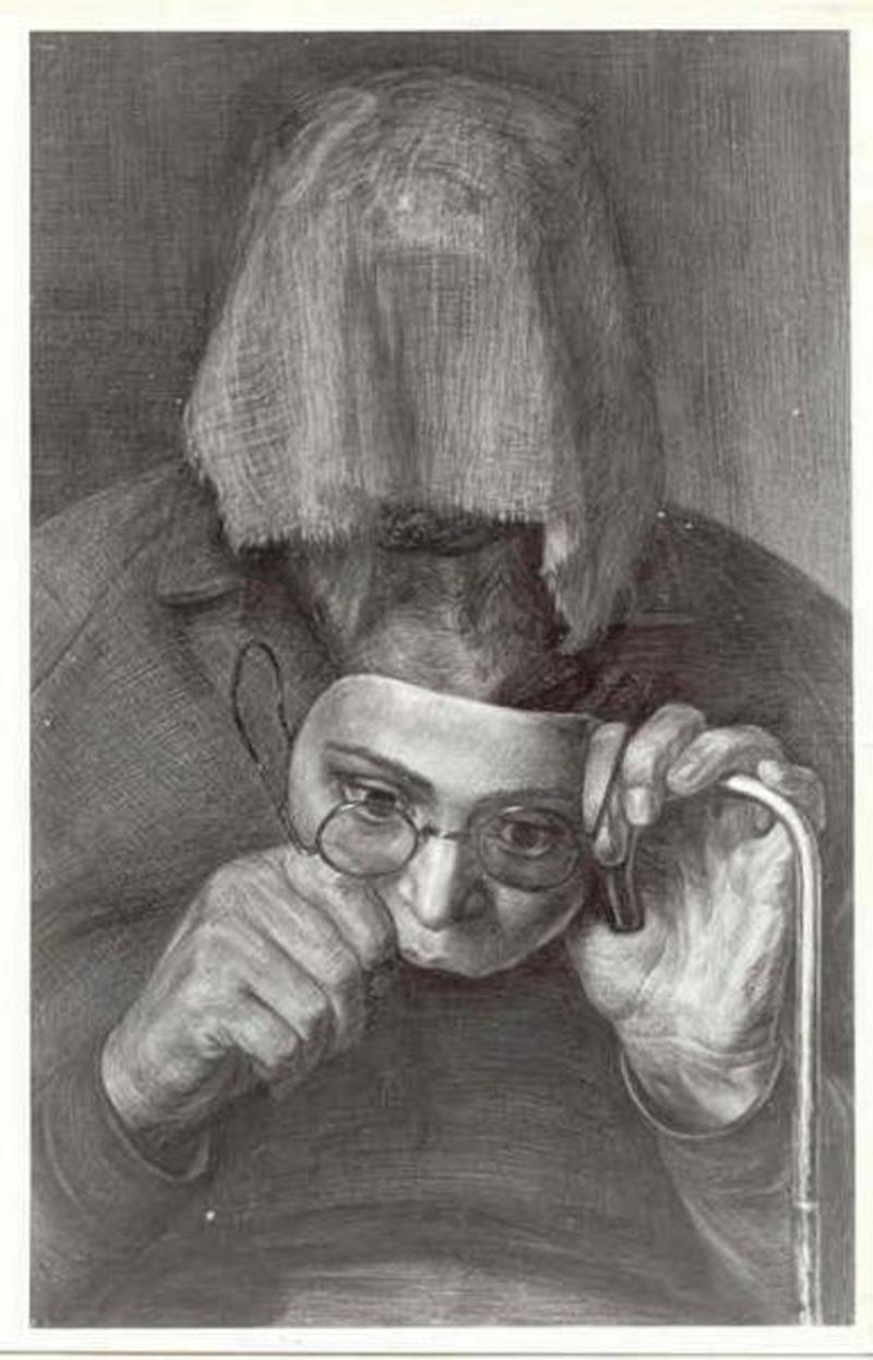 Портрет женщины с сожженным лицом. Рисунок Геннадия Доброва