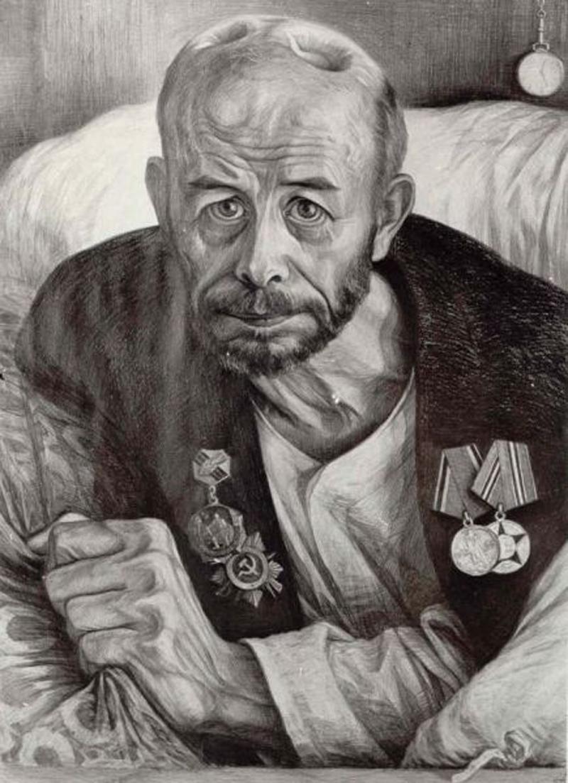 Ранен при защите СССР. Рисунок Геннадия Доброва