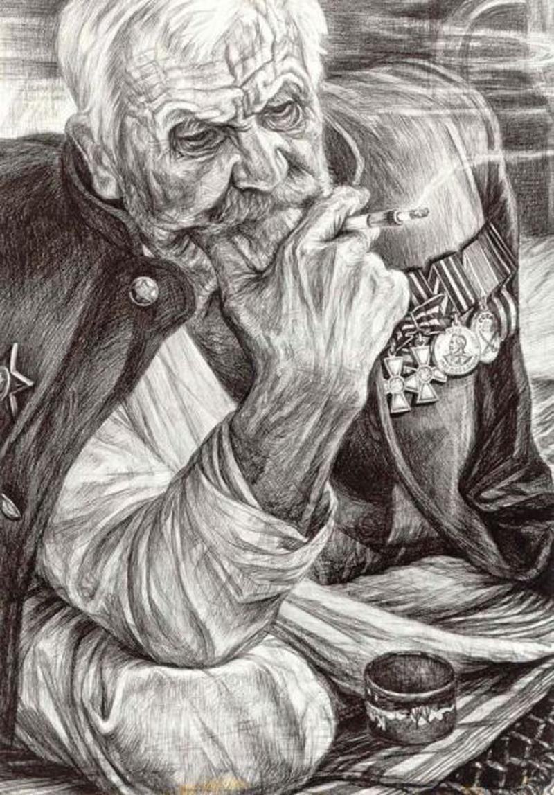 Старый воин. Рисунок Геннадия Доброва