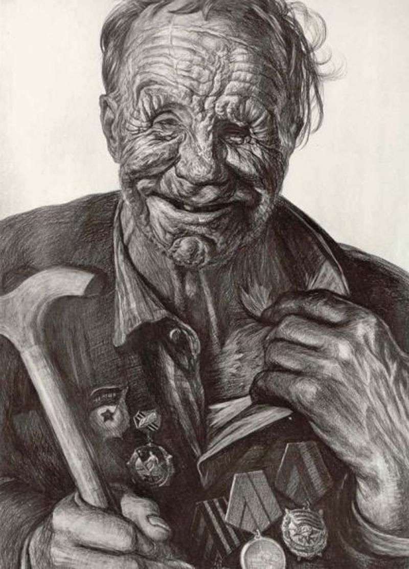 Защитник Невской Дубровки. Рисунок Геннадия Доброва