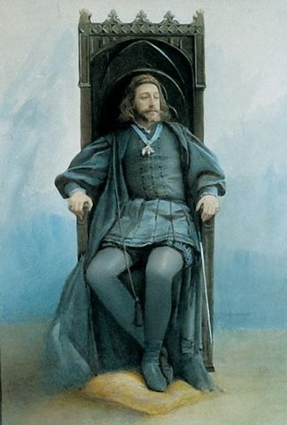 Grand Prince Konstantin Konstantinovich in the role of Hamlet in an amateur theatricals, watercolor portrait of Sophia Kramskaya
