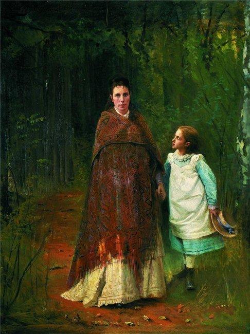 Крамской И.Н.  В парке. Портрет Софьи Николаевны и Софьи Ивановны Крамских, жены и дочери художника 1875
