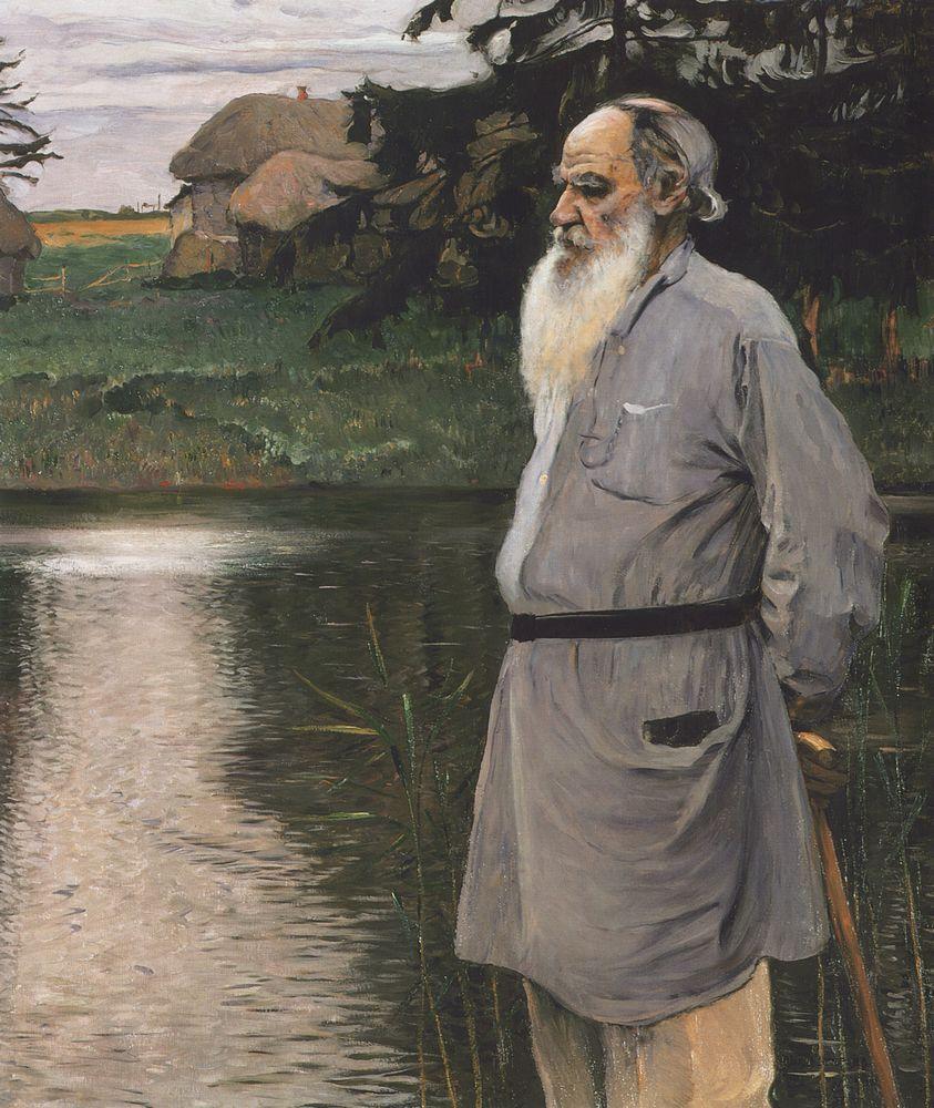 """Портрет Л.Н.Толстого, 1907  Портрет великого писателя, послуживший основой для образа Толстого в картине """"На Руси"""" (Душа народа)."""
