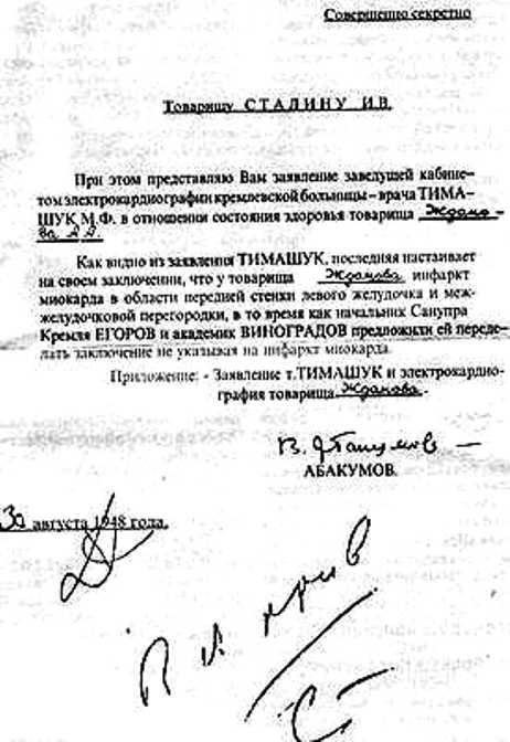 30 августа письмо Тимашук оказалось на столе у министра государственной безопасности В.С. Абакумова и в тот же день – у Сталина. Ознакомившись с ним, вождь сделал надпись: «В архив».