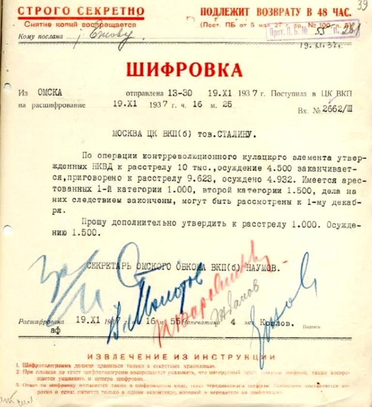 Шифровка-запрос Наумова дополнительных лимитов по Омской области на расстрелы (1 тыс. к выбранным 10 тыс.) и концлагеря (1.5 тыс. к выбранным 4.5 тыс.) - подписи: Сталин, Молотов, Каганович, Жданов, Ежов.