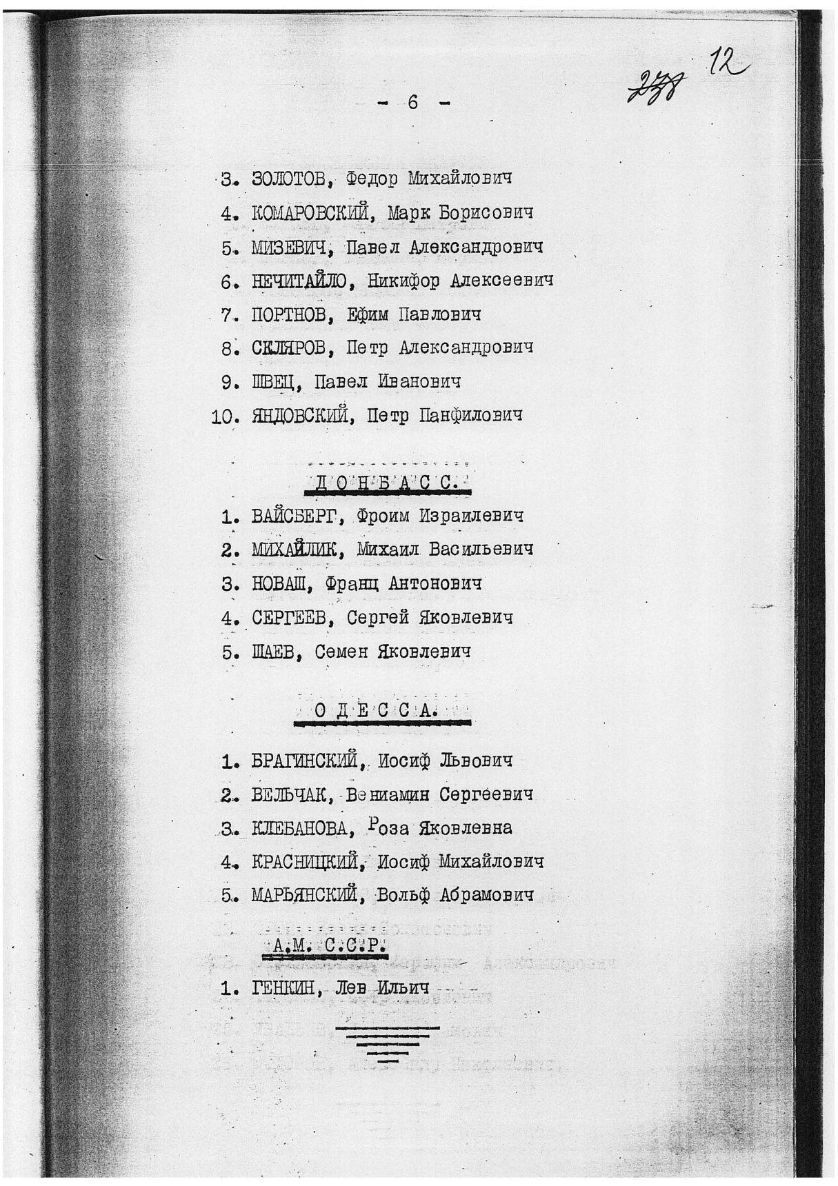 Сталинские списки: список лиц от 27 февраля 1937 года. Москва-центр и еще 13 регионов