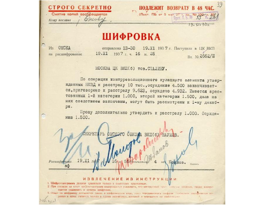 """Шифротелеграмма из Омска от 19.11.1937 """"по операции контрреволюционного кулацкого элемента"""" (подписи: Сталин, Молотов, Ворошилов, Жданов, Ежов)."""