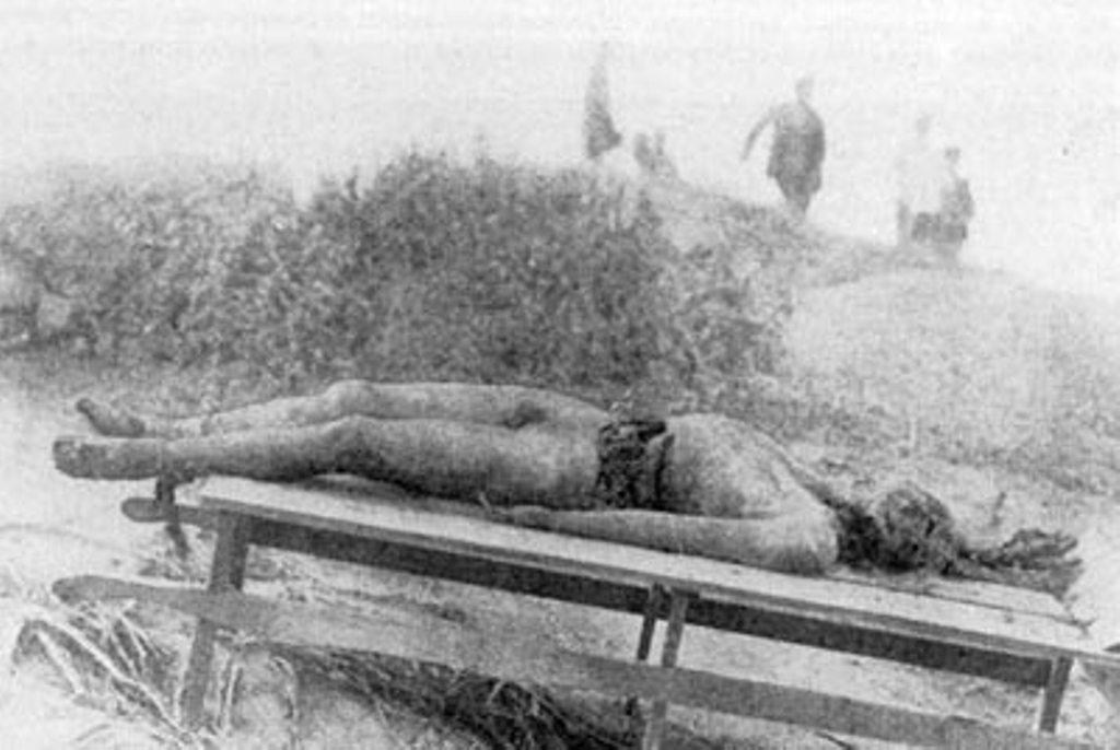 Труп 17–18-летнего юноши, с вырубленным боком и изувеченным лицом.