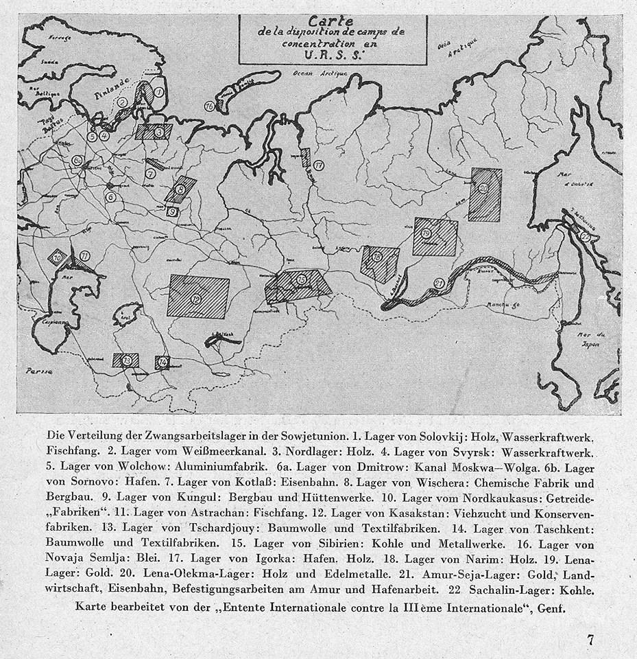 Топография террора. Карта ГУЛАГА 1936 г. Герман Грайфе. Принудительный труд в СССР. 13-е издание, Берлин-Лейпциг, 1936.
