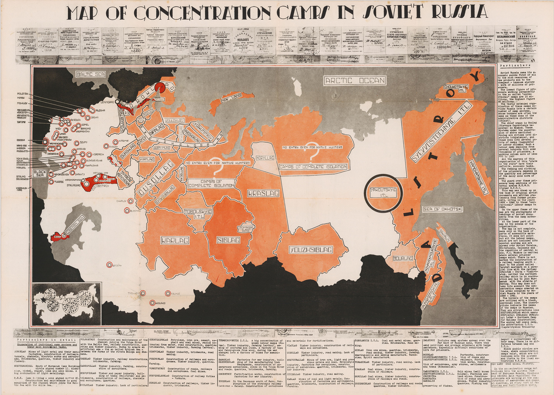 Карта лагерей и тюрем Советского Союза в 1945 году.